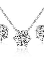 T&C Women's Concise 18K White Gold Plated with 6 Prongs Simulated Diamond Stone Pendant Necklace Earrings Set