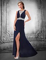 Formal Evening Dress - Dark Navy / Ivory Plus Sizes / Petite A-line V-neck Floor-length Chiffon