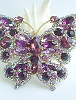 Women Accessories Gold-tone Purple Rhinestone Crystal Brooch Art Deco Butterfly Brooch Bouquet Women Jewelry