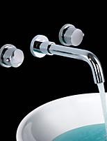 shengbaier laiton chromé contemporaine trois trous de mélangeurs de robinet évier