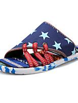 Zapatos de Hombre-Pantuflas / Sin Cordones-Exterior / Casual / Deporte-Tela-Azul / Negro / Blanco