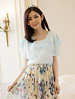 Women's Blue/Pink Blouse , Round Neck Short Sleeve