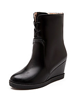Women's Shoes Wedge Heel Fashion Boots/Round Toe Boots Casual Black/Burgundy