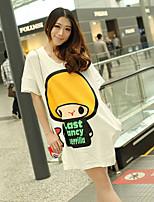 Women's Character White/Gray T-shirt , Round Neck ½ Length Sleeve