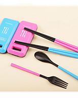 Foldable Spoon Fork Chopsticks Set Tableware Set(Random Color)