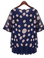 Women's Polka Dot/Solid Blue Blouse , Round Neck Short Sleeve