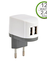 CE Certified Dual USB Wall Charger, Europe Plug,5V 2..4A output, for iPhone 5 iPhone 6/Plus, iPad Air, iPad Mini, iPad4