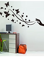 Pure Black Orchid And Black Butterfly Adornment Wall Stickers