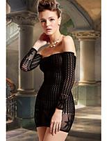 Women's Round Net Off Shoulder Mini Chemise Dress