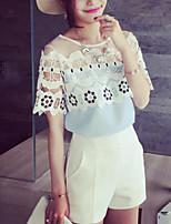 Women's Patchwork Blue/White/Black T-shirt , Round Neck Short Sleeve Lace