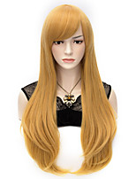 70cm Style Natural Straight Fashion Women Party Wigs Heat Resist Synhtetic Cosplay costume Wig Golden