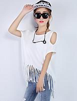 Women's Sexy Casual Micro-elastic Short Sleeve Long T-shirt (Cotton)
