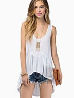 Women's Sexy Casual Plus Sizes Micro Elastic Sleeveless Long  Shirt (Microfiber)