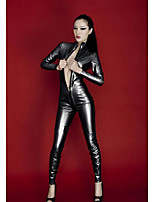 Women Patent Leather Uniforms & Cheongsams Sexy Nightwear Nightclub Performances Suit Uniforms Tight Corset Dress