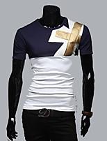 Men's Short Sleeve T-Shirt , Cotton Casual/Work