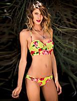 Women's Polyester Sexy Push-up/Underwire Bra Rose Floral Halter Bikinis