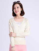 YINGYIYANG® Women's Korean Solid Color Openwork V-collar Lightweight Long Sleeve Sunscreen Cardigan Knitwear