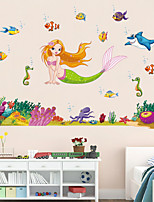 Wall Stickers Wall Decals Style Mermaid Dream Cartoon PVC Wall Stickers