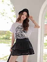 Women's Solid Skirts , Vintage/Sexy/Casual/Cute Above Knee Hollow Out/Layered/Ruffle