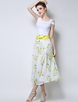 TS Women's Simplicity Elagent Floral Print High Waist Fashion Midi Skirts(Polyester)