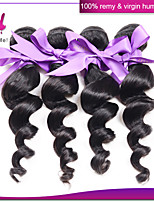 3Pcs Indian Loose Wave Hair Wefts 100% Original Human Hair Extensions #1B Color Unprocessed Loose Wave