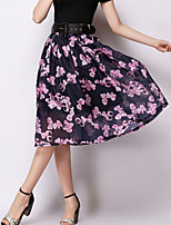 Women's Casual/Work Micro-elastic Medium Midi Skirts (Chiffon)
