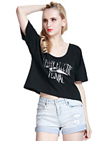 Women's Letter Black T-shirt , Round Neck Short Sleeve