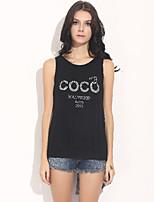 Women's Letter/Solid Black T-shirt , Round Neck Sleeveless Split