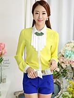 Women's Patchwork Yellow Shirt , Shirt Collar Long Sleeve