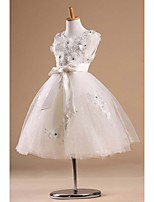 Flower Girl Dress - Princesse Longueur genou Sans manches Satin/Tulle