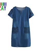 ZAY Women's Fashion Elegant Short Sleeve Straight Demin Dress