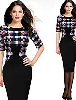 Monta Women's Vintage/Sexy/Party Round Short Sleeve Dresses (Cotton Blend)