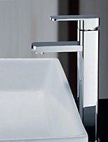 Shengbaier Single Handle Chrome Finished Solid Brass Bathroom Sink Faucet (high)