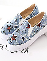 Women's Shoes Fabric Flat Heel Round Toe Loafers Casual Blue/Navy