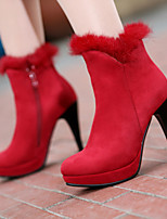 Women's Shoes Fleece Stiletto Heel Round Toe Boots Dress Black/Red