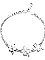Jazlyn Authentic Platinum Plated 925 Sterling Silver Woman 3pcs Four Leaf Clover Link Chain Lover Bracelet