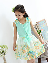 Girl's Summer Floral Print Sleeveless Shiffon Dresses