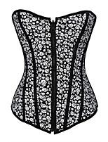 Shapewear Corsets Nylon/Polyester Printing Black Sexy Lingerie Shaper