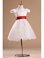 Prinsessa Satiini/Tylli Flower Girl Dress - Lyhyt hiha - Polvipituinen