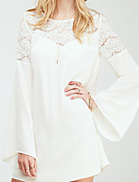 Women's Casual Round Long Sleeve Lace)