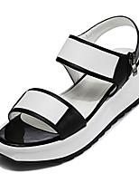 Women's Shoes Leatherette Wedge Heel Wedges/Open Toe Sandals Dress Black/White