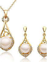 Fashion Drop Shape Tin Alloy Rose Gold Plated Foreign Trade  Jewelry Sets(Gold,Rose Gold,White Gold)(1Set)