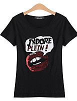 Women's Black T-shirt , Round Neck Short Sleeve Hollow Out