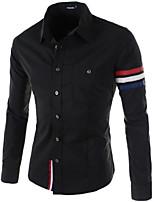 Men's Work Striped Long Sleeve Regular Shirts (Cotton Blends/Polyester)
