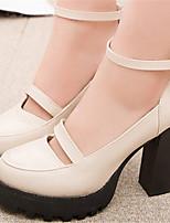 Women's Shoes Chunky Heel Round Toe Pumps/ Dress Black/Beige