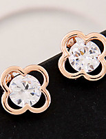 Women's Exquisite Fashion Sweet Clover Alloy Stud Earrings With Rhinestone