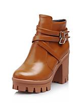 Chaussures Femme - Bureau & Travail / Habillé / Décontracté - Noir / Marron / Blanc - Gros Talon - Bottes à la Mode - Bottes - Similicuir