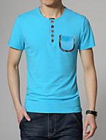 Men's Fashion Buttons Decorative Slim Short Sleeved T-Shirt