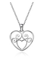 Heart Shape Silver Plated Pendant Necklace(1Pc)