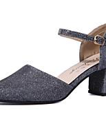 Women's Shoes Chunky Heel Pointed Toe Pumps/Heels Dress Black/Silver